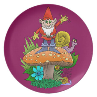 Cartoon illustration of a standing waving gnome. party plate