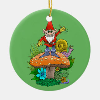 Cartoon illustration of a standing waving gnome. round ceramic decoration