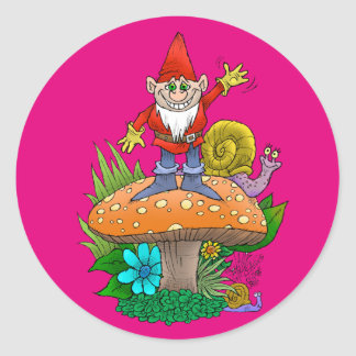 Cartoon illustration of a standing waving gnome. round sticker