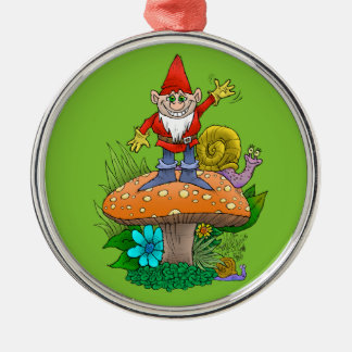 Cartoon illustration of a standing waving gnome. Silver-Colored round decoration