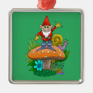 Cartoon illustration of a standing waving gnome. Silver-Colored square decoration