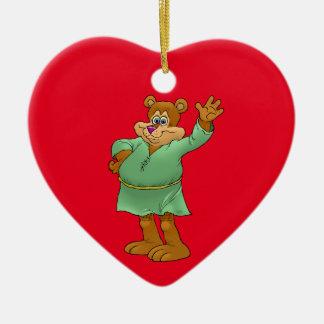 Cartoon illustration of a waving bear. ceramic heart decoration