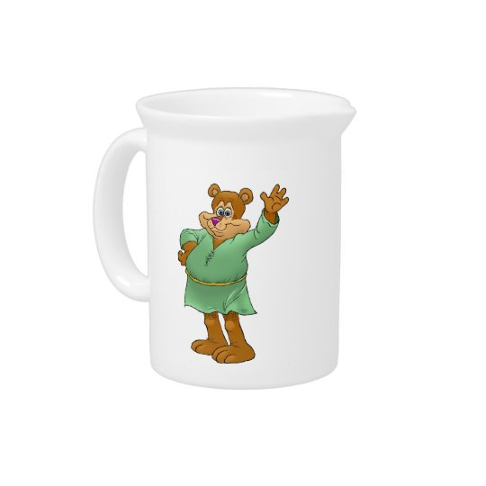 Cartoon illustration of a waving bear. pitcher