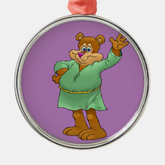 Cartoon illustration of a waving bear. Silver-Colored round decoration