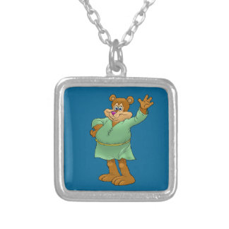 Cartoon illustration of a waving bear. silver plated necklace