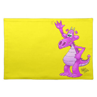 Cartoon illustration of a waving purple dragon. place mat
