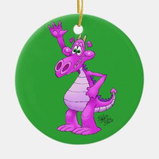 Cartoon illustration of a waving purple dragon. round ceramic decoration