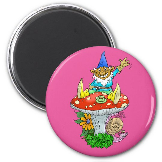 Cartoon illustration of a Waving sitting gnome. 6