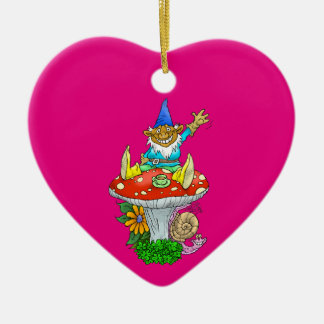 Cartoon illustration of a Waving sitting gnome. Ceramic Heart Decoration