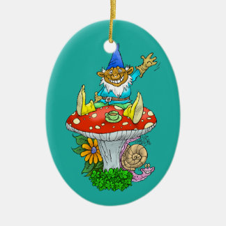 Cartoon illustration of a Waving sitting gnome. Ceramic Oval Decoration