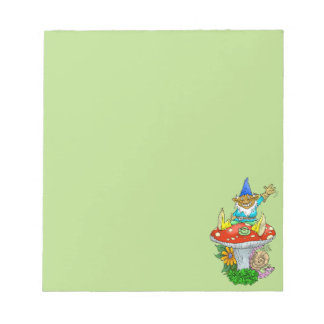 Cartoon illustration of a Waving sitting gnome. Notepad