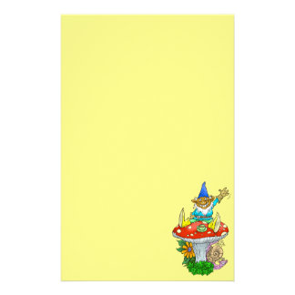 Cartoon illustration of a Waving sitting gnome. Personalised Stationery