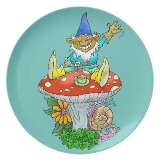 Cartoon illustration of a Waving sitting gnome. Plate
