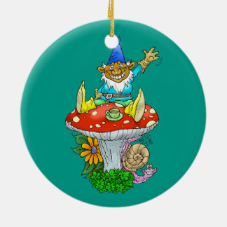 Cartoon illustration of a Waving sitting gnome. Round Ceramic Decoration