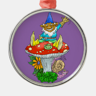 Cartoon illustration of a Waving sitting gnome. Silver-Colored Round Decoration