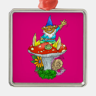 Cartoon illustration of a Waving sitting gnome. Silver-Colored Square Decoration