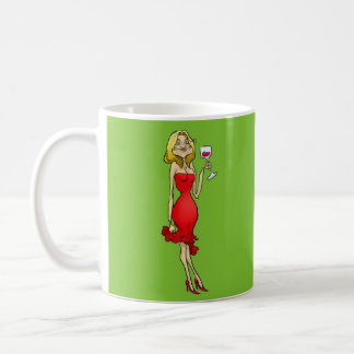 Cartoon illustration of a woman in a red dress. basic white mug