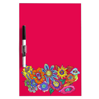 Cartoon illustration of flowers, dry erase board. Dry-Erase boards