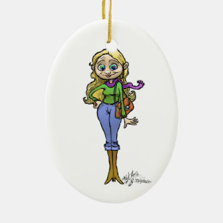 Cartoon Illustration of Shopping woman, ornament. Ceramic Oval Decoration