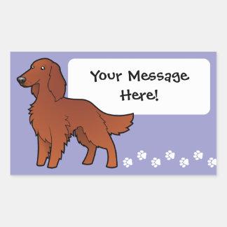 Cartoon Irish / English / Gordon / R&W Setter Rectangular Sticker