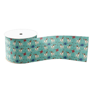 Cartoon Jack Russell Terrier Grosgrain Ribbon