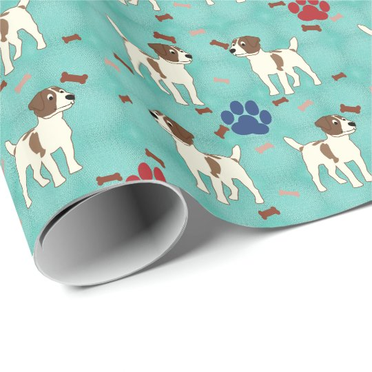 Cartoon Jack Russell Terrier Wrapping Paper