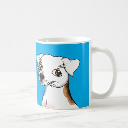 Cartoon Jack Russell with one patch Mugs