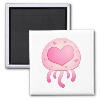 Cartoon Jellyfish Heart Square Magnet