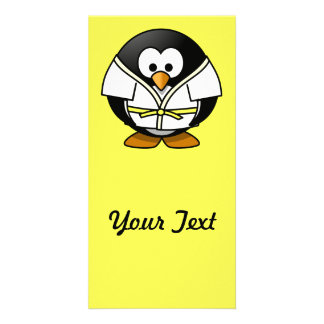Cartoon Judo Penguin Yellow Background Picture Card