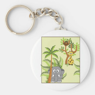 Cartoon Jungle (Elephant, Giraffe, Monkey) Basic Round Button Key Ring