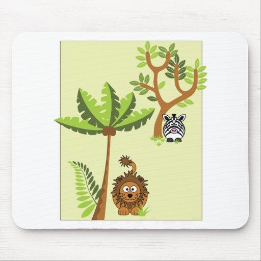 Cartoon Jungle (Lion, Zebra) Mouse Pads