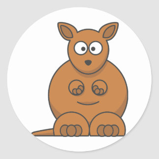 Cartoon Kangaroo. Round Sticker