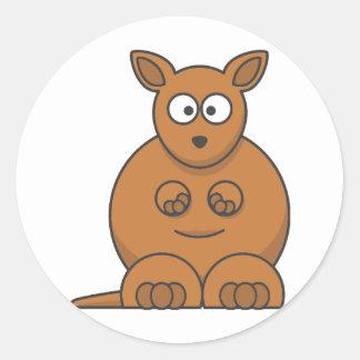 Cartoon Kangaroo. Round Stickers