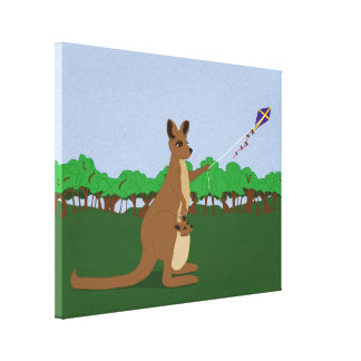 Cartoon Kangaroos Flying a Kite Gallery Wrapped Canvas