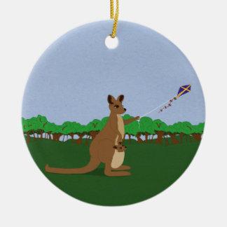 Cartoon Kangaroos Flying a Kite Christmas Ornament