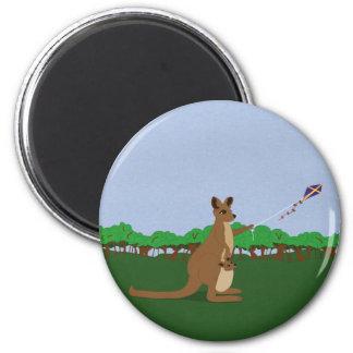 Cartoon Kangaroos Flying a Kite Magnet