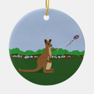 Cartoon Kangaroos Flying a Kite Round Ceramic Decoration