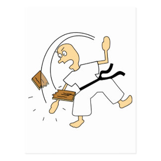 Cartoon Karate Man Chopping Wooden Board with Hand Postcard