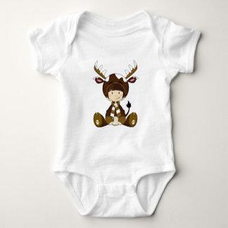 Cartoon Kid in Reindeer Costume Baby Bodysuit