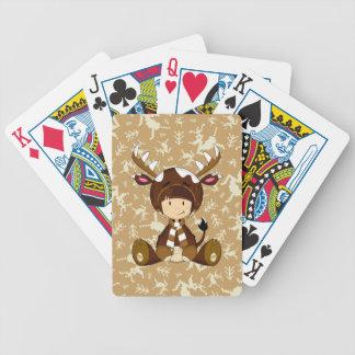 Cartoon Kid in Reindeer Costume Bicycle Playing Cards