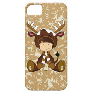 Cartoon Kid in Reindeer Costume iPhone 5 Case