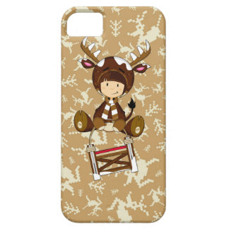 Cartoon Kid in Reindeer Costume iPhone 5 Cover