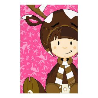 Cartoon Kid in Reindeer Costume Stationery Design