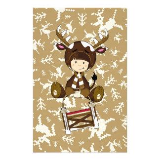 Cartoon Kid in Reindeer Costume Custom Stationery