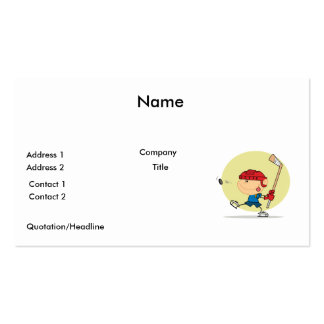 cartoon kid playing ice hockey design pack of standard business cards