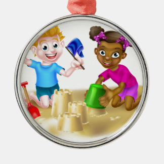 Cartoon Kids Making Sandcastles Silver-Colored Round Decoration