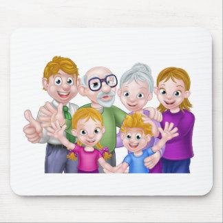 Cartoon Kids Parents and Grandparents Mouse Pad
