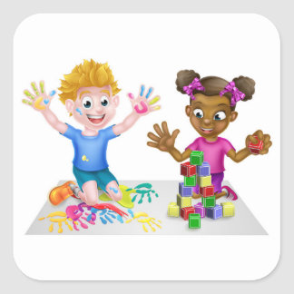 Cartoon Kids Playing Square Sticker
