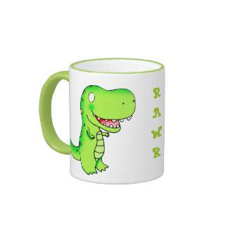 cartoon kids t-rex dinosaur coffee mug