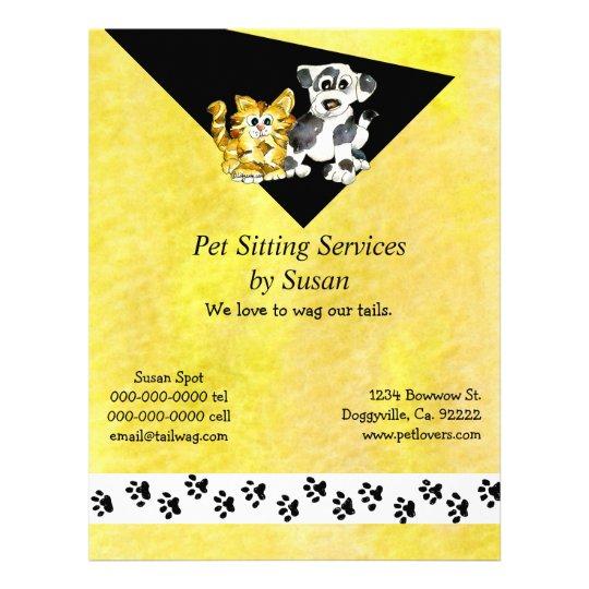 Cartoon Kitten Puppy Pet Sitting Flyer